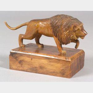 Carved Wooden Stalking Lion Figure