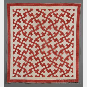 Pair of Red and White Pieced Cotton Drunkard's Path Pattern Quilts