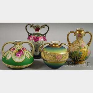 Four Japanese Moriage Ware Porcelain Vases