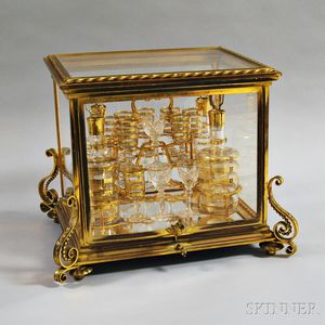 Napoleon III Brass and Glass Tantalus