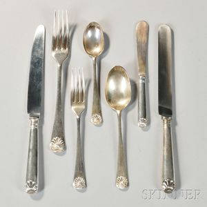 """Thirty-two Pieces of Elizabeth II """"English Shell"""" Pattern Sterling Silver Flatware"""