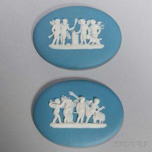 Pair of Wedgwood Solid Light Blue Jasper Medallions