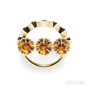 Retro 14kt Gold and Citrine Brooch, Tiffany & Co.