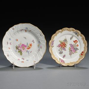 Thirty-five Continental Hand-painted Porcelain Plates
