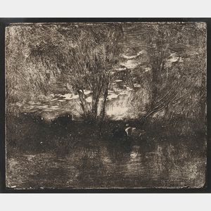 Jean-Baptiste-Camille Corot (French, 1796-1875)      Two Landscapes: Les arbres dans la montagne