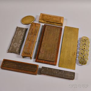 Nine Metal Cribbage Boards