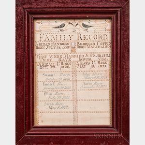Watercolor and Ink Abidan Sanborn-Rebekah Coffin Family Record