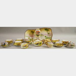 Assembled Set of Japanese Scenic Hand-painted Porcelain Tea and Tableware