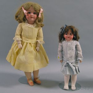 Two Armand Marseille 390 and 390n Bisque Head Girl Dolls