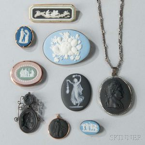 Nine Wedgwood Brooches and Medallions