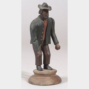 Carved and Painted  Nodder Folk Art Figure of a Man