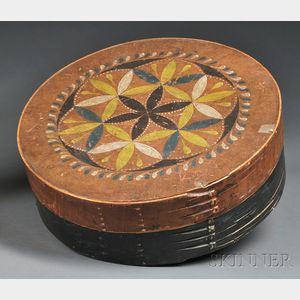 Compass-decorated, Polychrome-painted Covered Round Storage Box