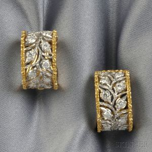 18kt Gold and Diamond Earclips, Buccellati