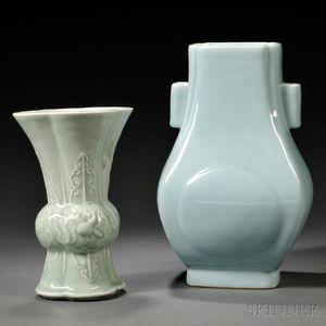 Two Blue Porcelain Vases