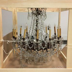 Brass and Glass Twelve-light Chandelier