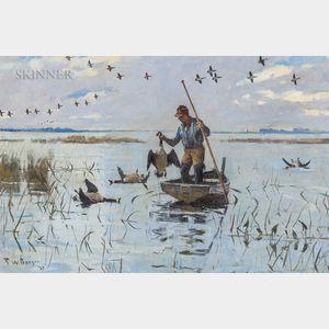 Frank Weston Benson (American, 1862-1951)      Hunter Collecting his Quarry