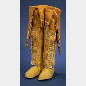 Southern Plains Woman's Beaded Hide High-Top Moccasins