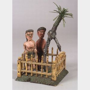 Carved and Painted Folk Art Adam and Eve Figural Group