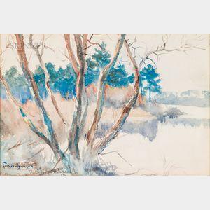 Frank Weston Benson (American, 1862-1951)      Trout Pond, Middleboro