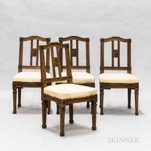 Set of Four Italian Neoclassical-style Carved Fruitwood Side Chairs