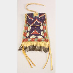 Southern Plains Beaded Hide Pouch