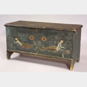 Paint Decorated Pine Six-Board Chest