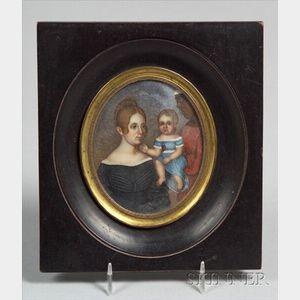 D.J. Watkins, 19th Century    Portrait Miniature of a Woman, Child, and Servant.