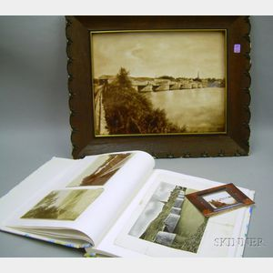 Framed Hand-painted Porcelain Plaque Depicting the Scotia Bridge, Schenectady,   New York