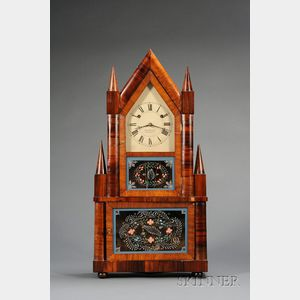 Rosewood Double Steeple Lever Spring Shelf Clock by Joseph Ives