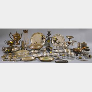 Large Group of Miscellaneous Silver and Silver-plated Serving Pieces and Flatware