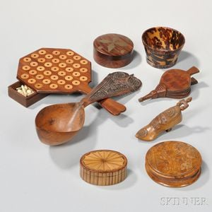 Eight Carved and Inlaid Items