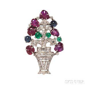 Art Deco Platinum Gem-set Giardinetto Clip/Brooch