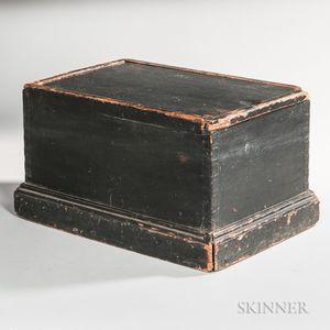 Black-painted Molded Pine Slide-lid Box