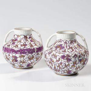Two Adelbert Niemeyer Nymphenburg Handled Vases