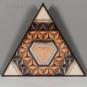Greg Copland (American, 20th Century)      Four Triangular Framed Mixed Media Works: Three Style 1275