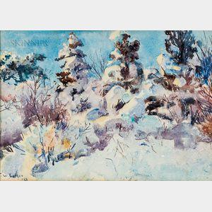 Frank Weston Benson (American, 1862-1951)      Snowladen Trees