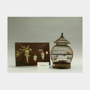 Japanese Ivory Mounted Lacquer Panel, a Chinese Wood Birdcage and a Syroco Chrysanthemum Panel.