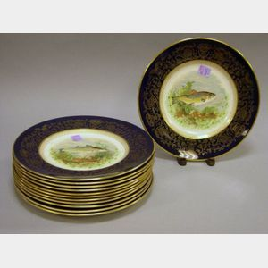 Twelve English Earthenware Fish Plates