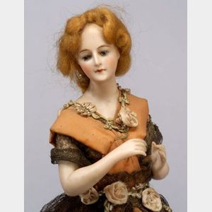 Porcelain Half Doll on Cage Base