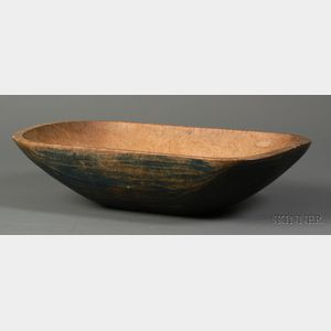 Blue-painted Oblong Carved Wooden Bowl