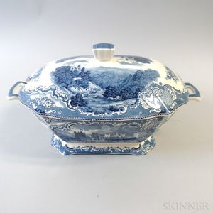 "Johnson Bros. Blue and White Transfer-decorated ""Old Britain Castles"" Ceramic Tureen"