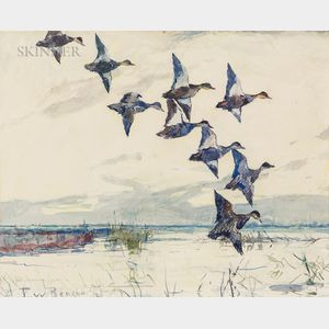 Frank Weston Benson (American, 1862-1951)      Ducks in Flight at Dusk