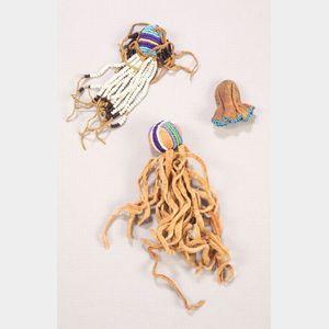 Three Northern Plains Beaded Hide Amulets