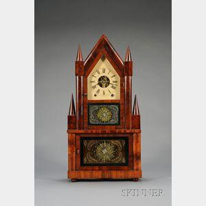 Mahogany Double Steeple Wagon Spring Shelf Clock by Birge & Fuller