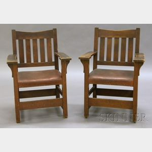 Pair of Gustav Stickley Armchairs