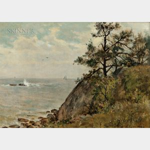 Willard Leroy Metcalf (American, 1858-1925)      Coastal Cliff with Distant Sailboats, Probably Manchester, Massachusetts