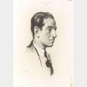 Charcoal sketch of George Gershwin by Samuel Johnson Woolf (1880-1948)