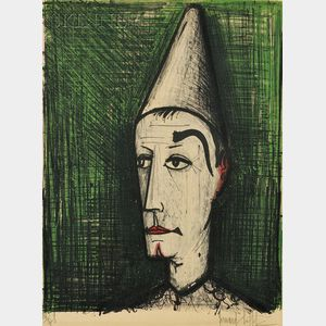 Bernard Buffet (French, 1928-1999)      The Clown with the Green Background