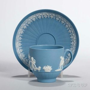 Wedgwood Solid Blue Jasper Cup and Saucer