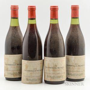 Moine Hudelot Chambolle Musigny 1974, 4 bottles